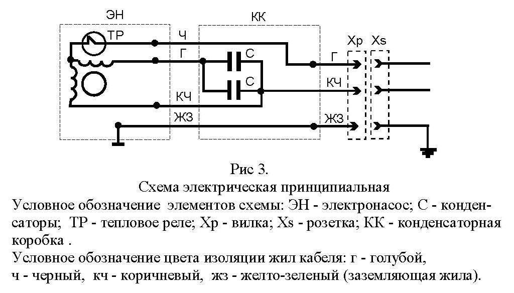 Схема электрического подключения скважинного насоса